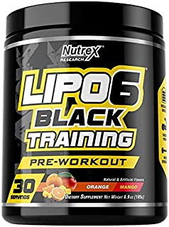 Nutrex Research Lipo-6 Black Training Pre-Workout | High Stim Pre-Workout for Enhanced Eneregy, Pump, and Focus | 30 Servi...