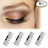 NewLifeStore Magnetic Eyelashes 0.2mm Ultra-thin 1 Pair 4 Pieces Natural Look False Eyelashes 3D Mink Reusable Cruelty Free Fake Lashes