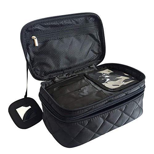 Kosmetiktasche, ONEGenug MakeUp Tasche, Schminktasche Kosmetikbeutel 23*10*14 cm, Größe M, Doppelschicht mit Spiegel für Damen Schwarz