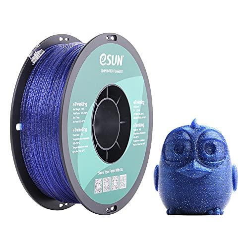 eSUN Filamento PLA Scintillante 1.75mm, Stampante 3D Filamento PLA, Precisione Dimensionale +/- 0.05mm, Bobina da 1KG (2.2 LBS) Materiali di Stampa 3D per Stampante 3D, Blu Scintillio