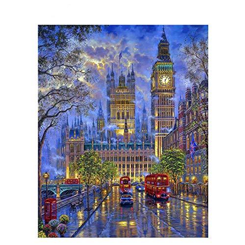 Lienzo de Bricolaje de Pintura al óleo Big Ben, Londres Pintar por Numeros para Adultos niños Decoraciones para el hogar Regalo-16x20 Pulgadas Sin Marco