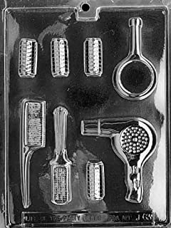 Cybrtrayd Life of the Party J063 Beautician Hair Dresser Dryer Brush Curlers Mirror Set Chocolate Candy Mold in Sealed Protective Poly Bag Imprinted with Copyrighted Cybrtrayd Molding Instructions