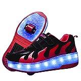 WFSH Zapatos de Rodillos para niñas niños niños Dual Rueda LED LED Parpadeante Skate Sneaker Zapatos (Color : A, Size : 30)