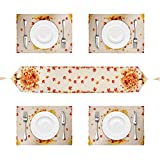 Autumn Leaves Table Runner with 4 Placemats, Cotton and Linen...