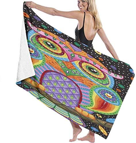 Beach Towel Large Bath Towel,Colorful Owl 3D Printing Lightweight Soft Absorbable Travel Towels Sports Bath Washcloth For Bedroom Swim Pool Yoga 80X130Cm