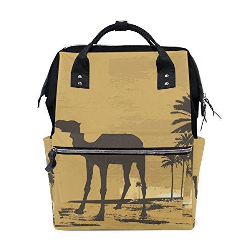 COOSUN Desert Camel Nappy Sac à langer Sac à dos Diaper CALORIFUGÉ poches poussette sangles, grande capacité multi-fonction élégant sac à couches pour maman papa extérieur Grand multicolore