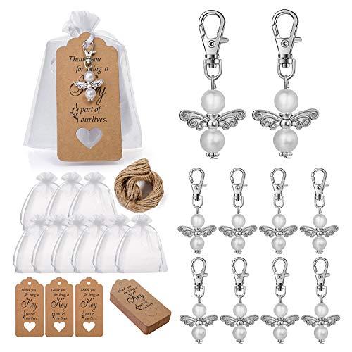 Regalos para bautizo, 30 regalos para invitados de boda, ángel de la guarda + 30 bolsas de organza + 30 colgantes, regalos para bautizo, confirmación, comunión