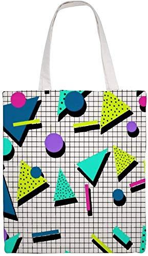 MODORSAN Bolso de hombro triangular retro de los años 80, bolso de mano de lona, bolsos de tela reutilizables para compras, bolsos de mano con impresión de doble cara