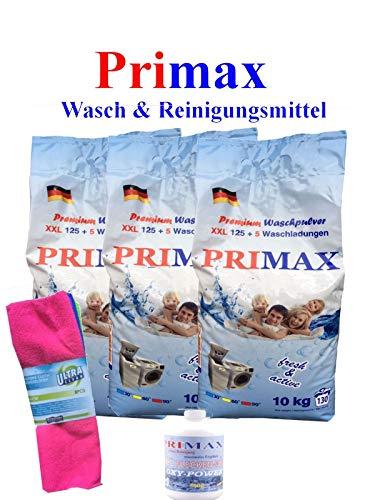 3 x 10 Kg Primax Waschpulver im PVC-Sack + 500 gr Fleckenentferner +Microfasertuch