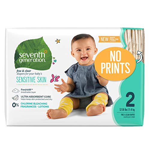Seventh Generation Baby Diapers, Free and Clear for Sensitive Skin, Original No Designs, Newborn 144ct (Packaging May Vary)