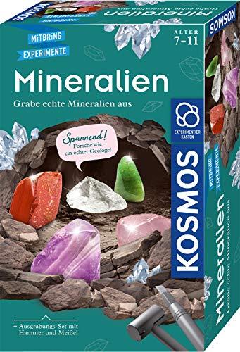 Kosmos 657901 Mineralien Ausgrabungs-Set, Grabe echte Mineralien selbst aus, mit Hammer und Meißel, 5 faszinierende Schmucksteine, Experimentierset für Kinder ab 7 Jahre zum Thema Geologie