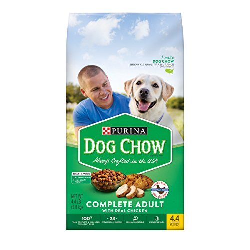Purina Dog Chow Dry Dog Food, Complete Adult With Real Chicken,4.4 lb. Bag (Pack of 4)