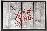 Carpido Lisa de diseño Let It Snow Felpudo, Fibra sintética, Multicolor, 40x 60x 0,6cm
