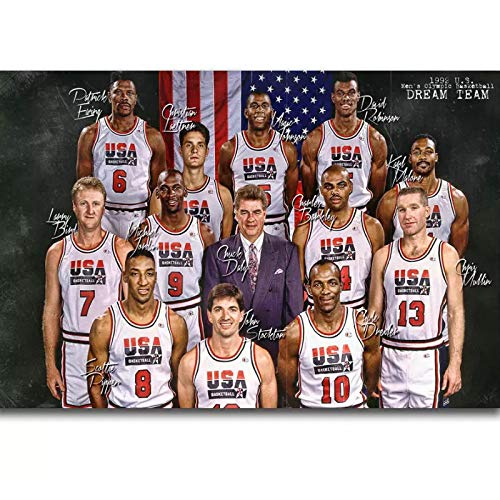 HJSF A 1992 USA Dream Team Micheal Jordan Magic Johnson Wall Art Painting Print On Canvas Posters Bedroom decor50x70cm Frameless