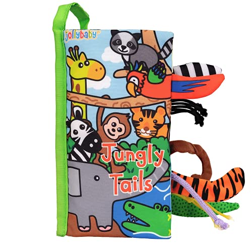 Jollybaby Cloth Book for Baby Crinkle Soft Book for Toddler Early Educational Toys Baby Fabric Book (Jungly Tails)
