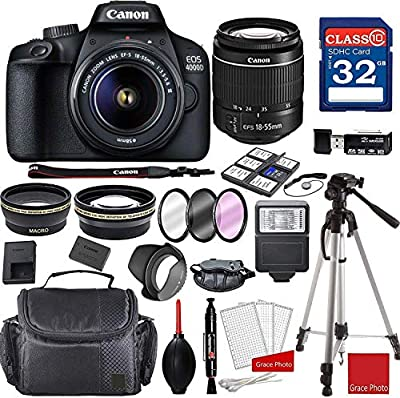 Canon EOS 4000D DSLR Camera with 18-55mm f/3.5-5.6 III + Professional Accessory Bundle from Canon