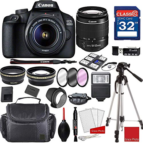Canon EOS 4000D DSLR Camera with 18-55mm f/3.5-5.6 III + Professional...