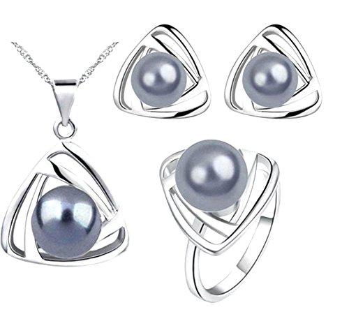 Gespout gioielli insieme collana triangolare bianco e grigio ciondolo modello accessori di gioielli per donna e ragazza serata di Matrimonio San Festa delle madri regali di compleanno
