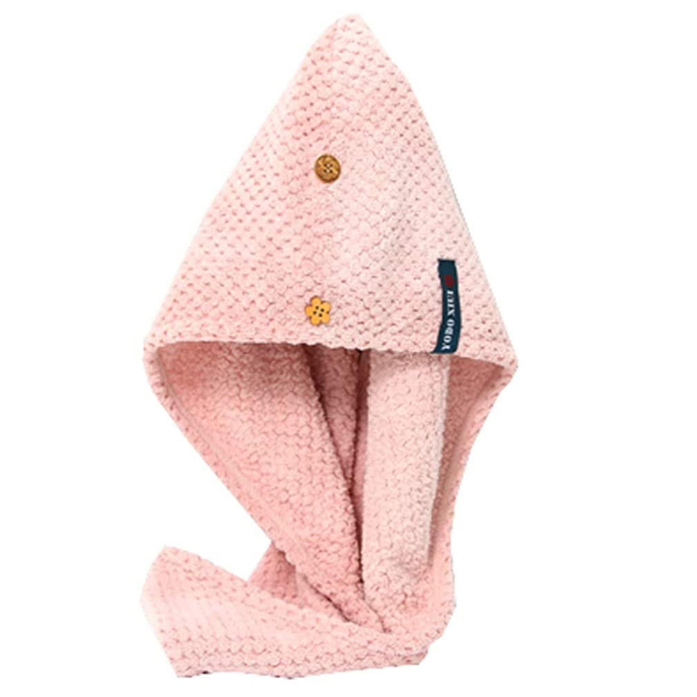 畝間ペイント心配HEHUIHUI- シャワーキャップ、ダブルシャワーキャップ、レディース弾性防水シャワーキャップ HHH (Color : Pink)
