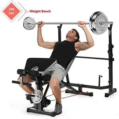 Tomasar Olympic Weight Bench with Preacher Curl, Leg Developer, Multi-Functional Weight Bench Set for Indoor Exercise (Black-1)
