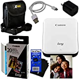Canon Ivy Wireless Bluetooth Mini Photo Phone Printer (Slate Gray) for iPhone or Android + Photo Paper (30 Pack) + Protective Case + USB Cable w/Wall Adapter + HeroFiber Cloth for Canon Printer