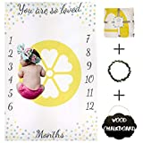 Baby Milestone Blanket by Nakie Baby Apparel & Accessories – Monthly Blanket Photo Props for Babies – Unisex Design – Ultra-Soft Polyester Fleece Gray Yellow Mint – Includes Small Chalkboard and Chalk