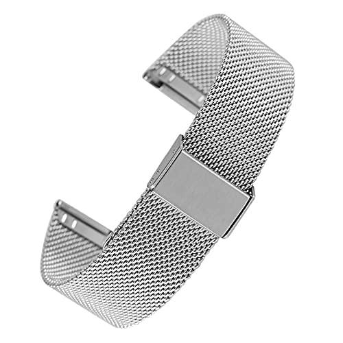 Correas de reloj, correa de reloj de malla de acero de 18 mm 20 mm 22 mm 24 mm Correa de reloj exquisita con hebilla de gancho Banda de reloj de pulsera de repuesto premium, reemplazo de correa d