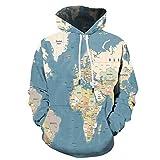 Blue and White Reflections chompas de Mujer Invierno Azul Claro Gris Cuatro Simple Mapa del Mundo suéter con Capucha suéter 3D impresión Digital Casual Chaqueta Deportiva-Color_2XL