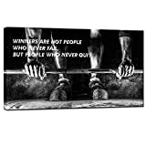 Nachic Wall- Canvas Quotes Wall Art Black and White Weightlifting Pictures Man Bodybuilding Motivational Inspirational Poster Canvas Stretched Wood Framed Modern Home Gym Office Decorations