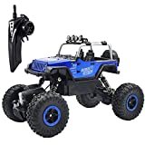 RC Car Off-Road Vehicles Remote Control Car 4WD RC Trucks 1:18 Monster Trucks 2.4GHz RC Hobby Car Hi-Speed Racing Car with LED Light - Blue
