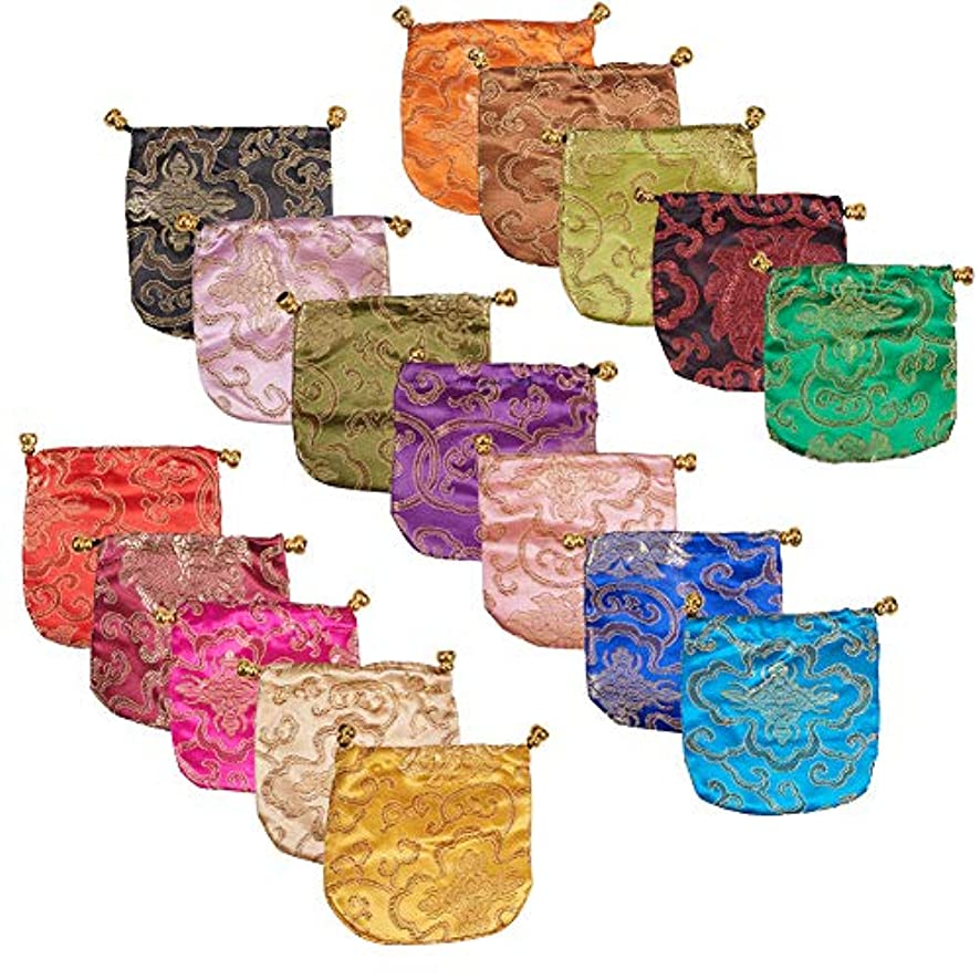 NBEADS 34 Pcs Mixed Color Silk Brocade Embroidered Drawstring Pouch Candy Jewelry Pouch Bag Gift Bags Purse