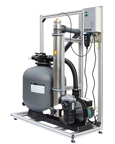PURION 80 Filtersystem mit UVC Anlage für Pool bis 90m³ Made in Germany (Edelstahl mit Lebensdauerüberwachung)