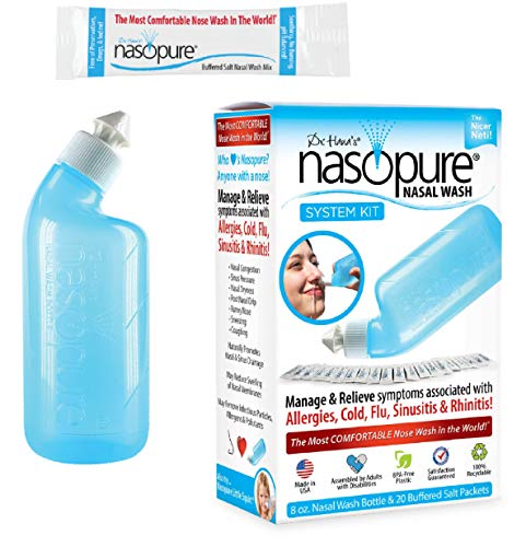 Dr. Hana's Nasopure Nasal Wash | System Kit | The Nicer Neti Pot - Nasal Symptoms of Allergies, Cold, Flu, & Sinusitis - Fast All Natural Relief - Nasal Irrigation System/Nasal Spray/Nasal Hygiene