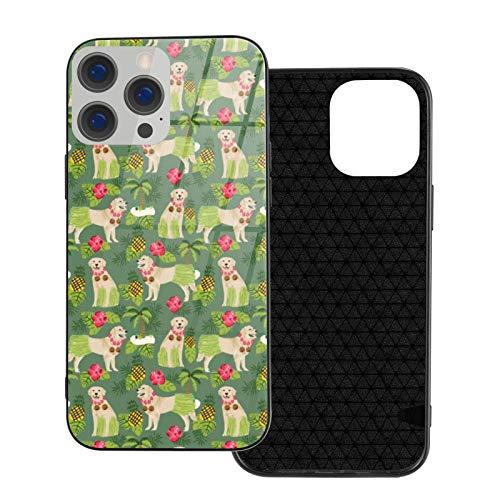 MEUYGOFLZ Compatible con iPhone 12 Pro Max, carcasa de cuerpo completo, carcasa de cristal TPU suave para iPhone 12 Pro Max 6.7 pulgadas, diseño tropical Golden Retriever Dog Hula Summer