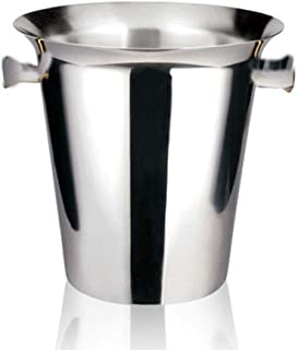 LOCGFF Stainless Steel Champagne Bucket, Thicken Double Wall with Ice Clip, for Bar KTV Round Champagne Beer Ice Bucket, Silver Ears