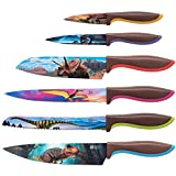 Jurassic Knife Set in Gift Box - Cool Gifts for Dinosaur Lovers - 6 Piece Colorful Chefs Knives Set - Birthday Gifts for Men, Wedding Gifts for Women, Gifts for Kitchen, Housewarming Gifts
