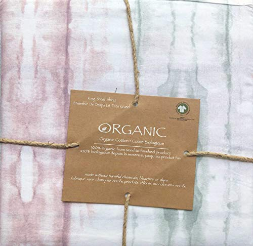 Organic Cotton King Size 4pc Sheet Set Geometric Boho Watercolor Pattern in Shades of Pink Gray White 100% Cotton Luxury - Woodstock Water