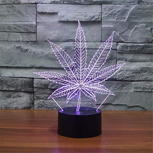 Regalos para niños, lámpara de ilusión 3D hoja de cannabis 16 colores cambiantes de ilusión óptica luces con acrílico plano, base ABS, cable USB para vacaciones