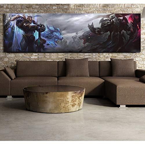 Mode Leinwand Malerei 1 Stück Poster League of Legends Garen und Darius Gott König Hautvideospiel Poster HD-Wand-Anstrich for Hauptdekor (Color : No Frame, Size (Inch) : 60cm x 215cm)