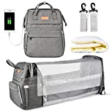 Diaper Bag Backpack, Multifunction Large Capacity Baby Diaper Bags with Changing Station Baby Bag for Boy Girl Travel Back Pack for Moms Dads with Maternity Changing Pad Bags Dark Gray
