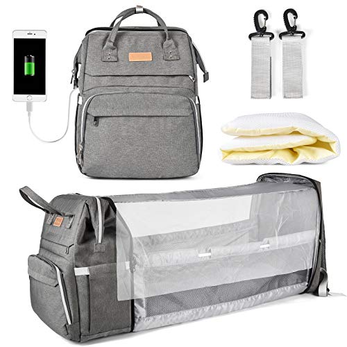 Diaper Bag Backpack, Multifunction Large Capacity Diaper Bag with Foldable Baby Bed for Baby Girl Boy Travel Back Pack for Moms Dads with Maternity Changing Mat Bags Dark Gray