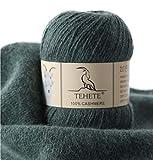 TEHETE Ovillo de lana, 100% Cachemira Hilo con 3-Capas para manta, suéter calcetín, bufanda, diy, ganchillo y tejido(Verde)