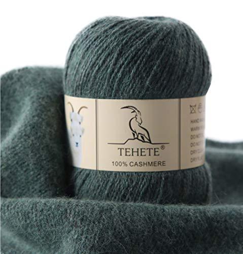 TEHETE Ovillo de lana, 100% Cachemira Hilo 50g, para manta, suéter calcetín, bufanda, diy, ganchillo y tejido(Verde)