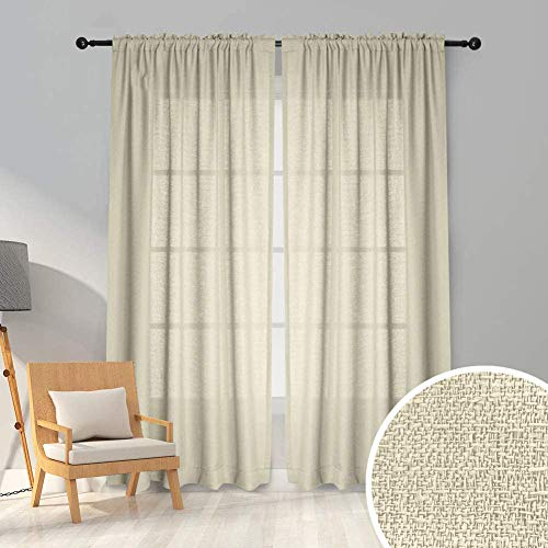 Melodieux 2 Panel Faux Linen Voile Net Curtains Semi Sheer Blackout Rod Pocket Drapes for Bedroom, Living Room, Window - Beige, 55 x 89 inch drop (140 x 225cm)