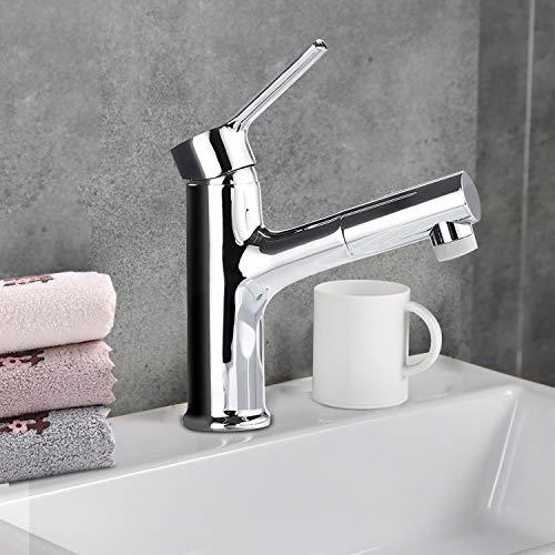 Grifo Lavabo Extraíble, Griferia lavabo Fregadero con 2 Modos de Flujo, VENTCY Grifo de Cocina, Agua Caliente y Fría, Válvula de Cerámica, Latón Cromado
