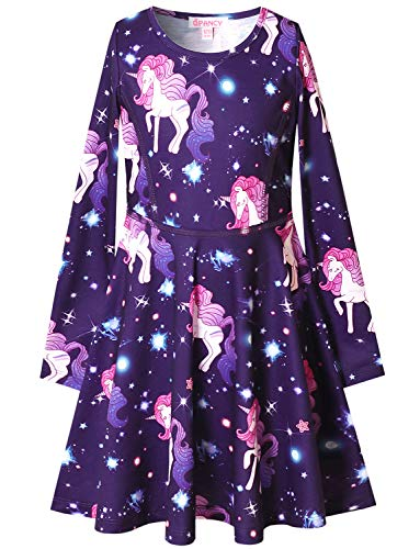 v28a long sleeve dresses QPANCY Girls Long Sleeve Dresses for Kids Fall Winter Clothes Birthdayt Party Gifts