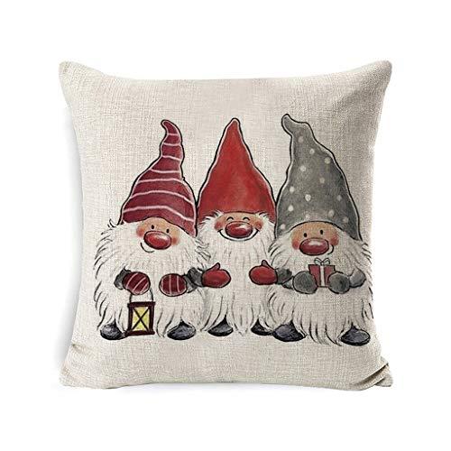 DIAOD Christmas Decorations Throw Pillow Covers Linen Elf Santa Printed Winter Pillow Cases Cushion Covers Farmhouse Decor
