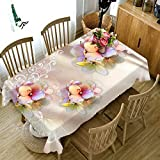 SELHOME 3D Diamond Flower Tablecloth Butterfly and Morning Glory Washable Thicken Cotton Cloth Rectangular and Round Table Cloth - Style B - 40 X 40CM