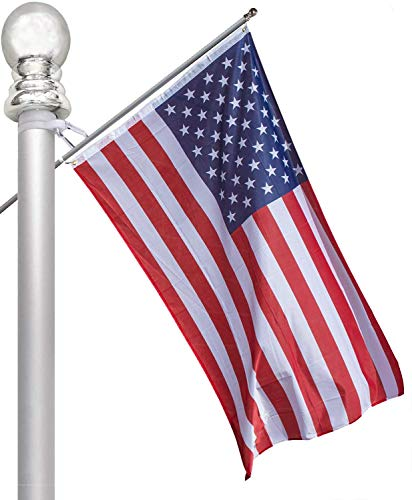 Nmfdz Telescopic American Flag 3x5 ft with Embroidered Stars Flag with Flag Pole, 6 ft Aluminum Tangle 2 Section, Residential or Commercial Durable Flags Built for Outdoors, Oxford Nylon (6) Fashion