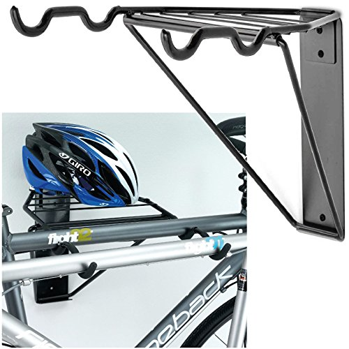 Gr8 Home Wall Mounted Folding 2 Bike Bicycle Cycle Storage Mount Rack Double Parking Hook Holder Hanger Garage Holding Foldable Stand
